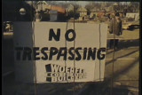 News film clip of demonstration against school construction at the site of MacDowell School in...
