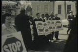 News film clip of a Milwaukee United School Integration Committee (MUSIC) protest over busing and...