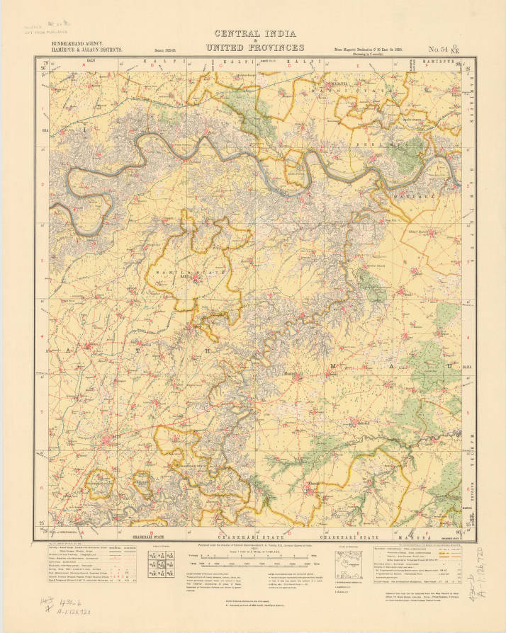 Bundelkhand Agency Hamirpur Jalaun Districts Central India - Map of united provinces india