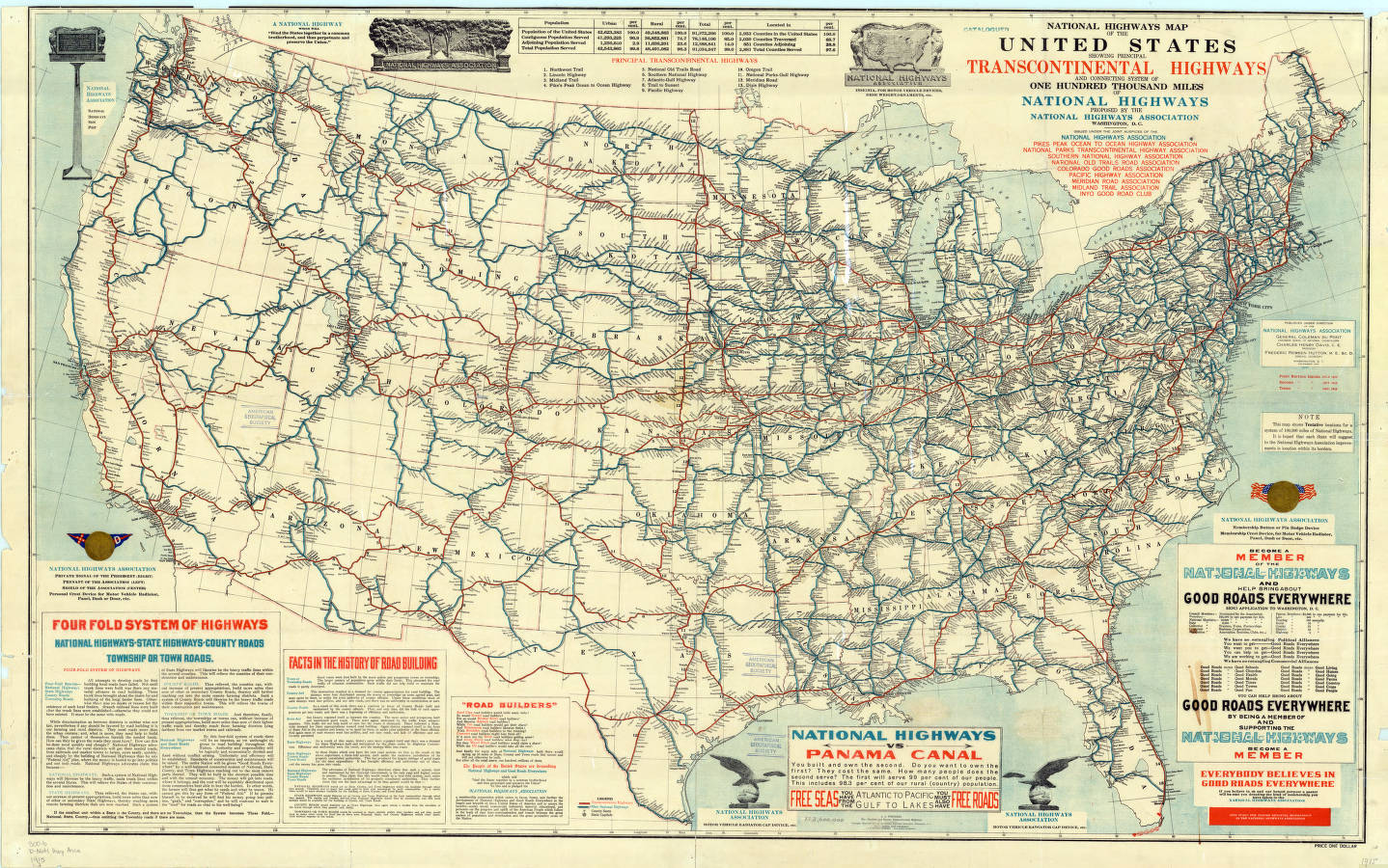 United States Highways American Geographical Society - Us map with states and highways
