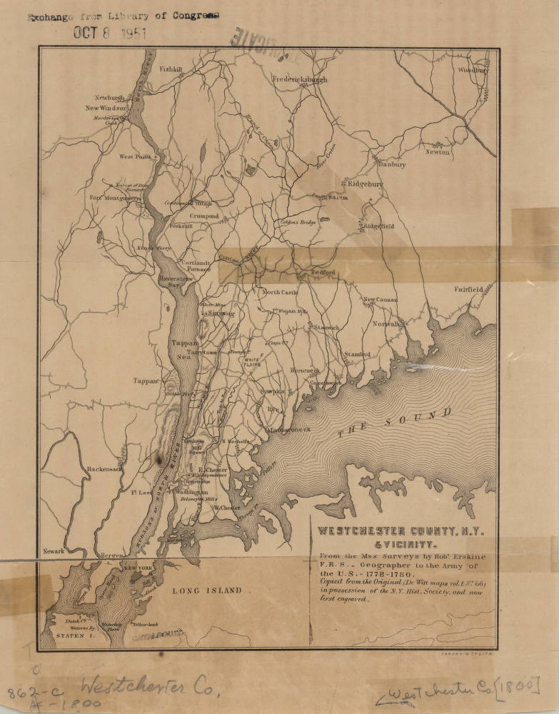 New York Map 1800.Westchester County New York 1800 American Geographical Society