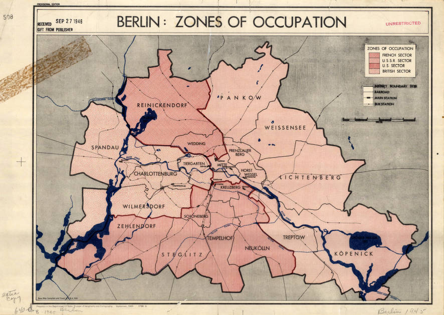 Map Of Germany Occupation Zones.Berlin Germany 1945 American Geographical Society Library Digital