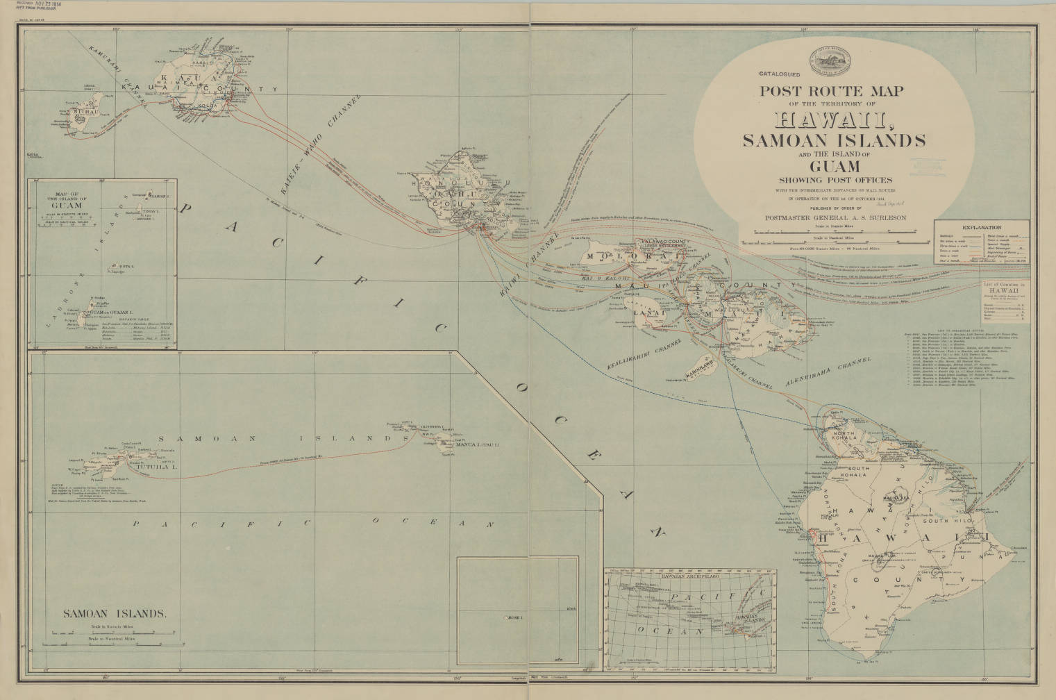 Guam And Hawaii Map.Hawaii Samoan Islands And The Island Of Guam 1914 Post Route Map