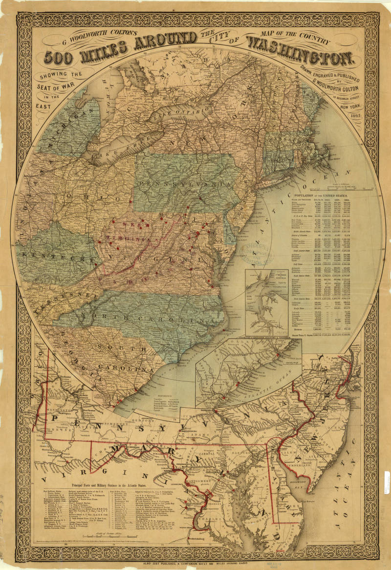 Washington Map Society.Washington District Of Columbia 1861 American Geographical