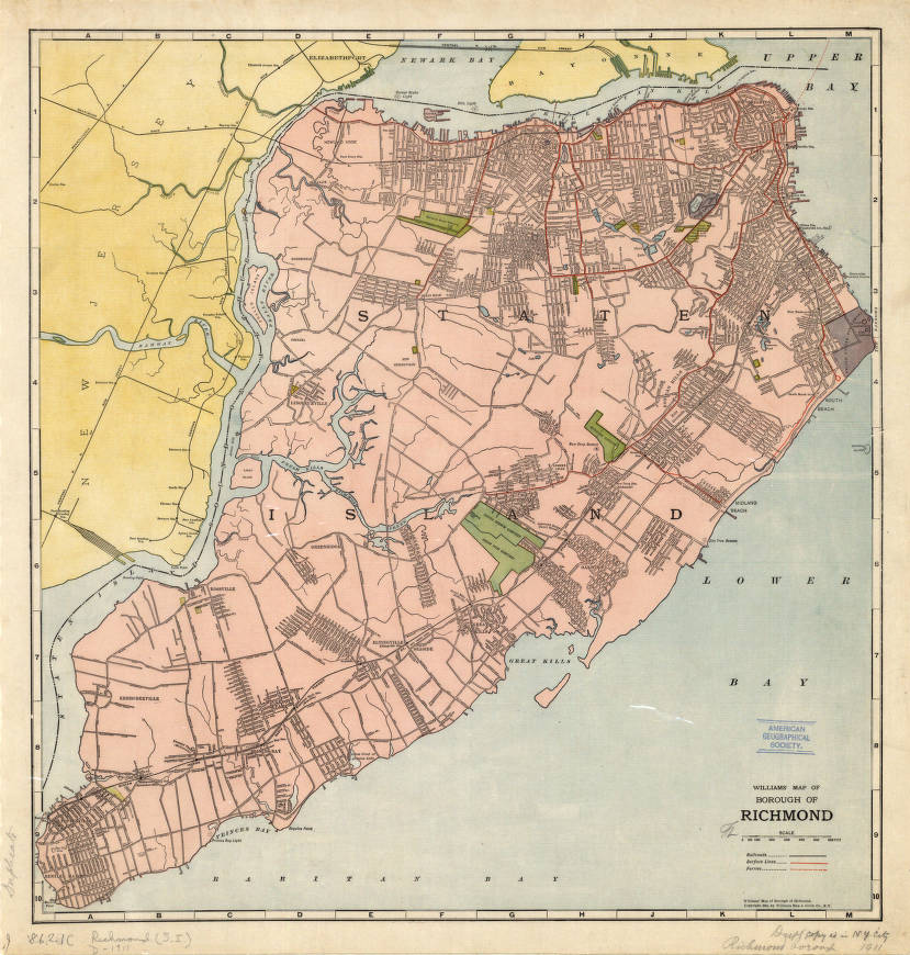 Geographical Map Of New York.Staten Island New York 1911 American Geographical Society