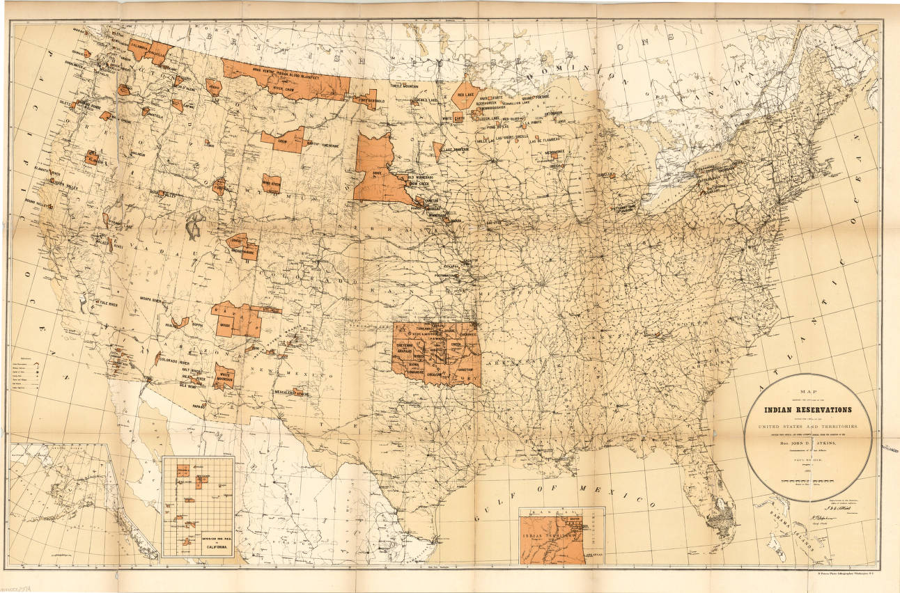 United States Indian Reservations 1885 American Geographical