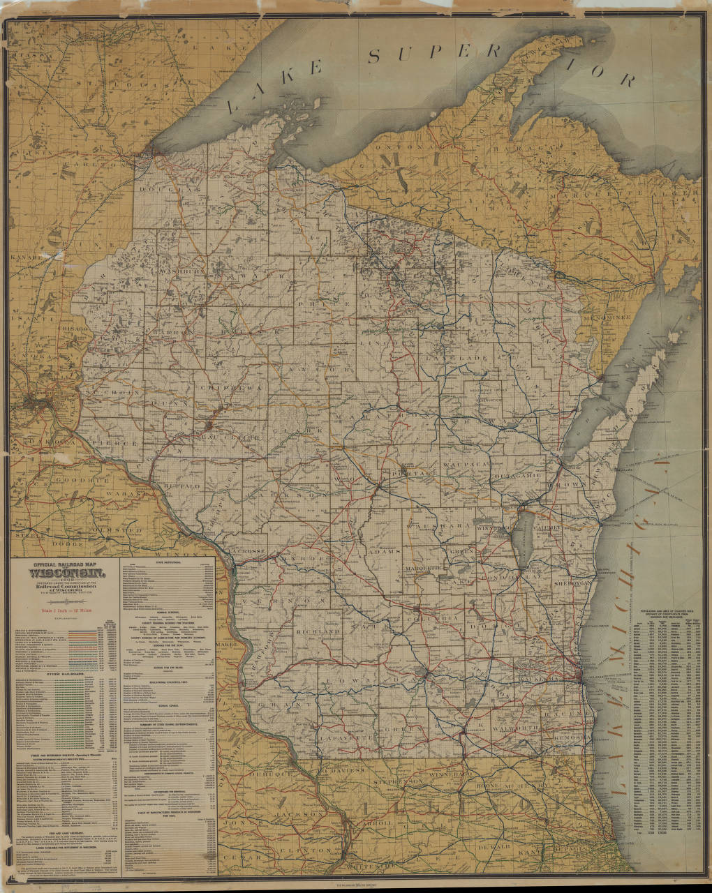 wisconsin 1908 official railroad map