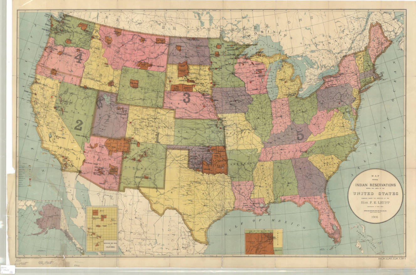United States Map Showing Indian Reservations American - Us map 1905