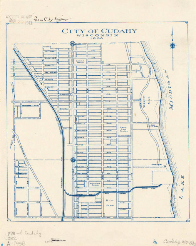 Cudahy Wisconsin Map.Cudahy Wisconsin 1938 American Geographical Society Library