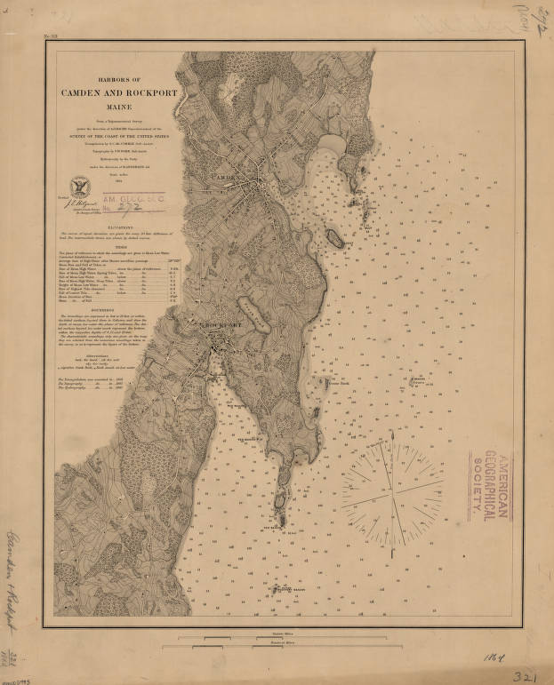 Harbors Of Camden And Rockport Maine 1864 American Geographical