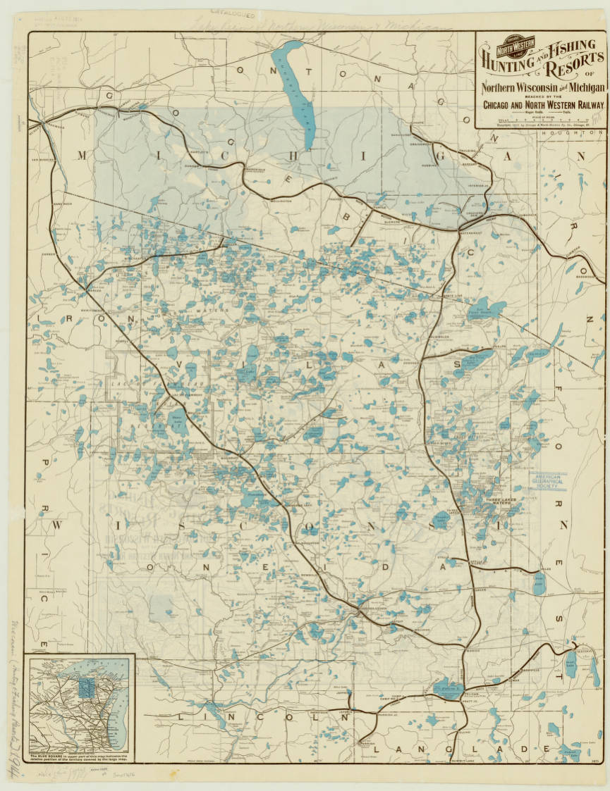 Wisconsin And Michigan American Geographical Society Library - Map of wisconsin and michigan