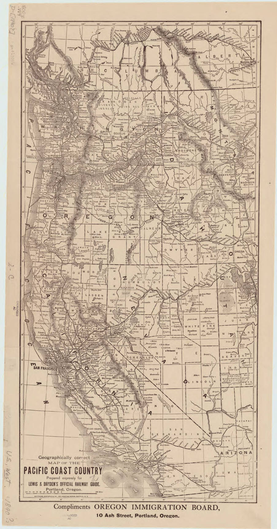 United States Pacific Coast American Geographical Society - Us map 1890