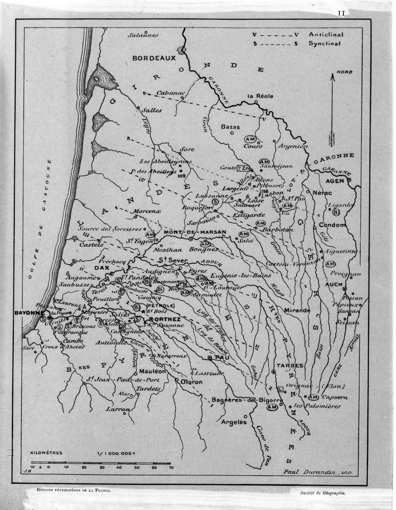 Map Of West Coast Of France.Photograph Of French Language Geologic Map Of West Coast Of France
