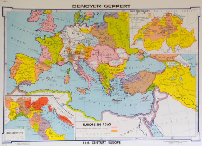 14th Century Europe Agsl Wall Map Collection Uwm Libraries