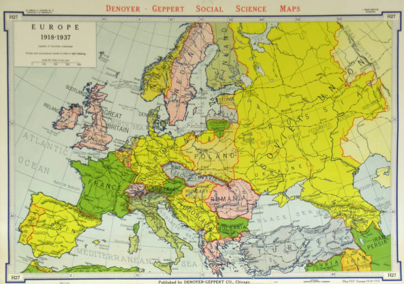 Europe 1918 1937 Agsl Wall Map Collection Uwm Libraries Digital