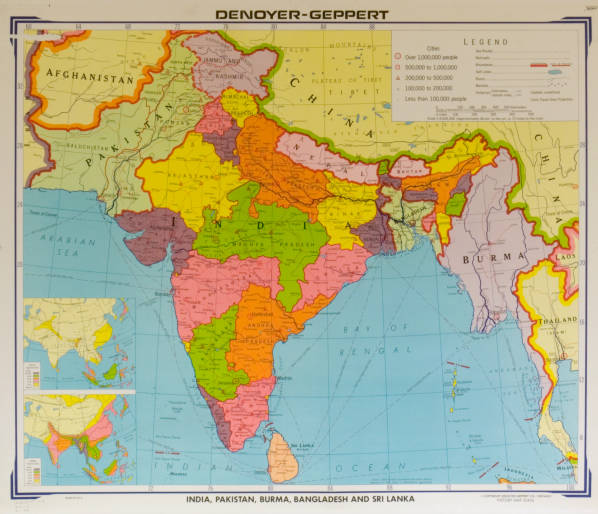 India Pakistan Burma Bangladesh And Sri Lanka Agsl Wall Map