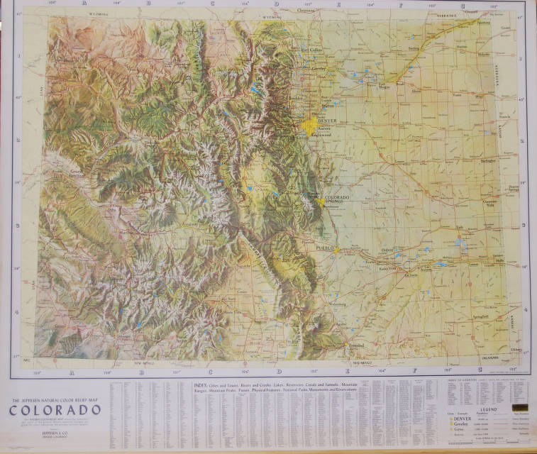 The Jeppesen Natural Color Relief Map Colorado Agsl Wall
