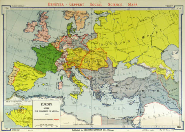 Europe After The Congress Of Vienna 1815 Agsl Wall Map Collection