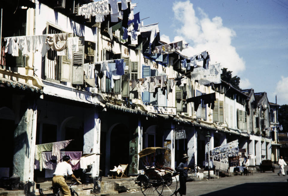 Singapore, laundry drying from low-income apartment building