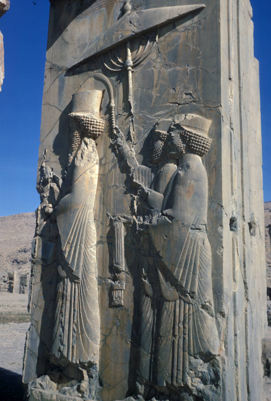 Persepolis Palace Of Xerxes Bas Relief Depicting Xerxes Followed By Two Attendants Cities Around The World Uwm Libraries Digital Collections