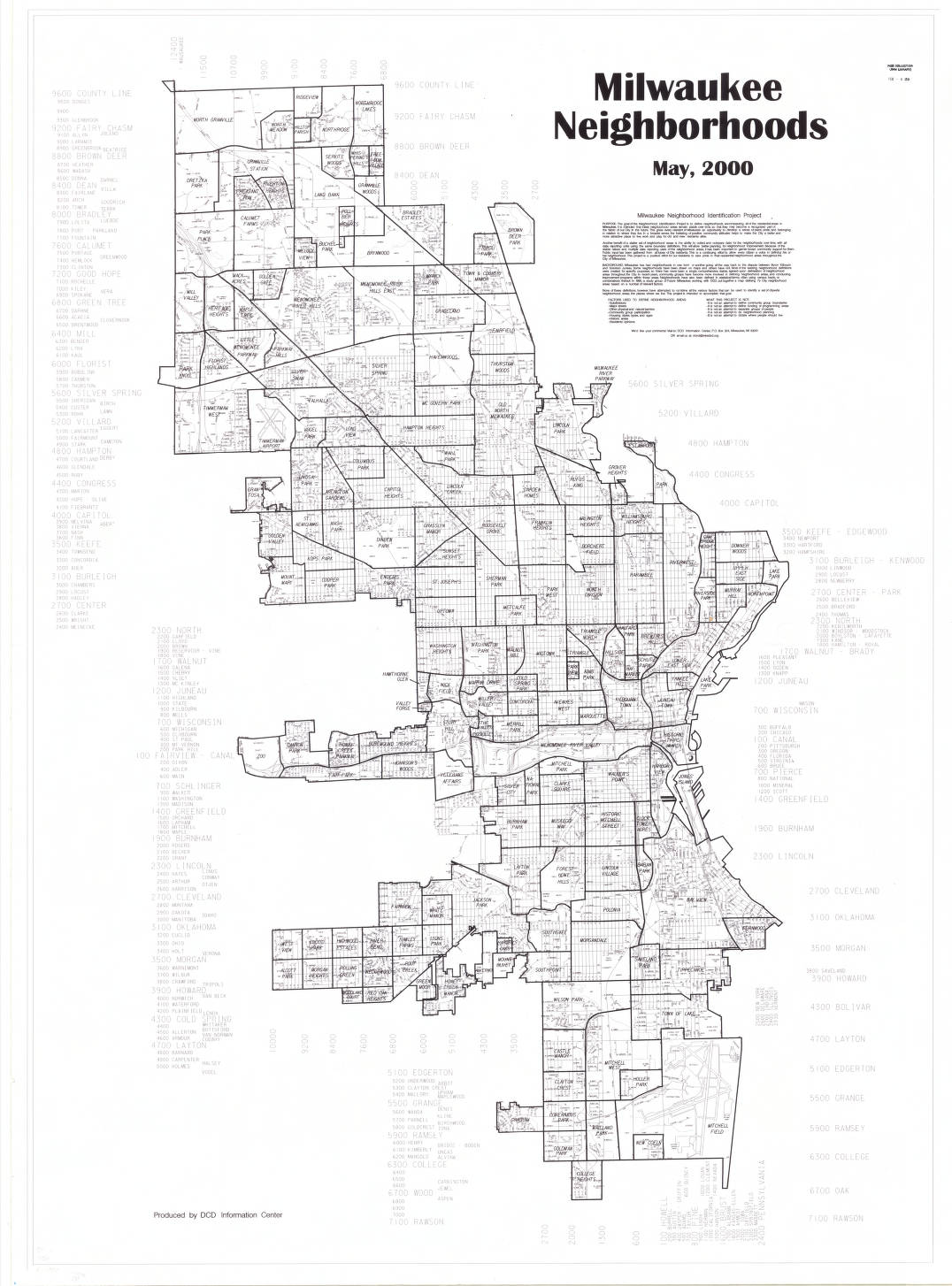 Milwaukee Neighborhood Map 2000: Milwaukee neighborhoods map   Milwaukee Neighborhoods   UWM