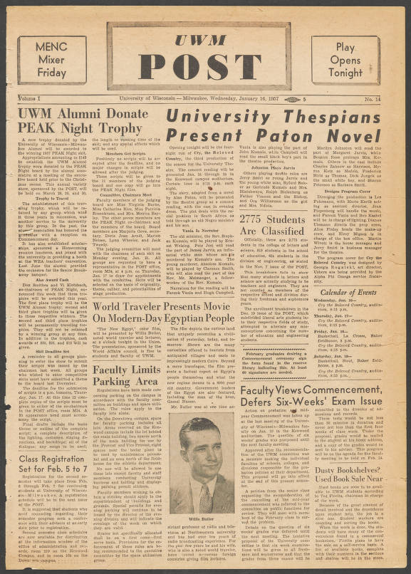 Page 1 The Uwm Post Milwaukee Wis Volume 1 Number 14